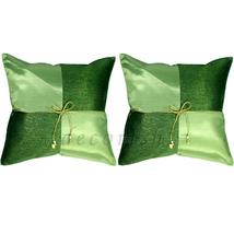 2x Silk Contemporary Throw Accent Decor Pillow Cases GREEN Checker 16x16... - $14.99