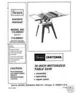 Sears Craftsman  Table Saw Manual Model # 113.298051 - $10.99