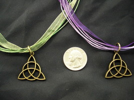 St Patrick CHARMED CELTIC KNOT Necklace POWER of 3  FREE SHIP Pendant Ir... - $13.99