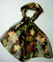 "Scarf, Brown Leaf Design, 60"" x 12"",Polyester, Brand New - $5.99"