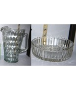 Pretty Clear Glass Pitcher w/Thumb Print Design & Round Glass Ribbed Can... - $19.05