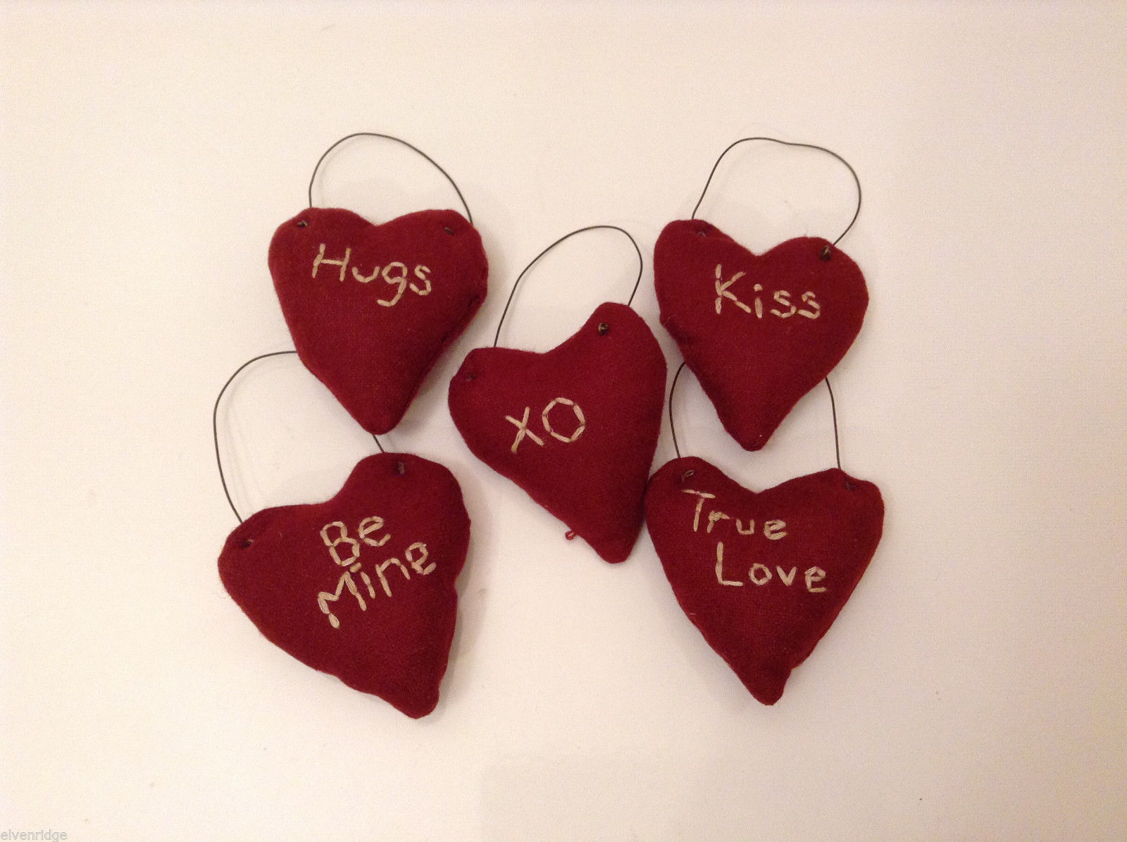 Lot of 5 Fabric Red Valentine's Heart Decorations w/ Handstitched Love Messages