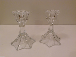 "Set of 2 Clear Glass Candlestick Holders Hexagonal Fluted Top & Bottom 4.5"" High"