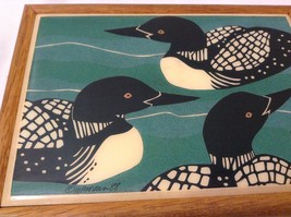 Wooden Trinket Box with three loon birds loonies from Maine  vintage