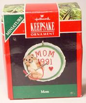 Hallmark: Mom - Minature - Chipmunk Needlepoint - 1991 Holiday Ornament - $9.67