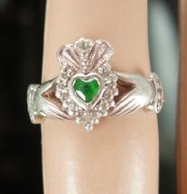 12 Diamond IRISH Claddagh Ring Vintage sterling Chrysoprase Ireland silv... - $145.00