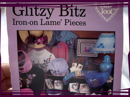 Glitzy Bitz Iron On Applique Lame Pieces - Cute Loot - $3.95
