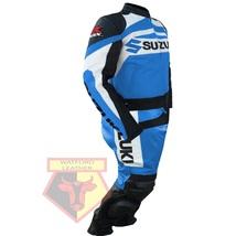 SUZUKI GSX-R SKY BLUE MOTORBIKE MOTORCYCLE COWHIDE LEATHER ARMOURED 2 PC... - $339.99