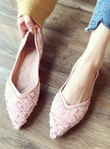 Girls Pink Crystals Ballet Flats Slippers Shoes Soft Casual Shoe Wedding Flat - £31.79 GBP