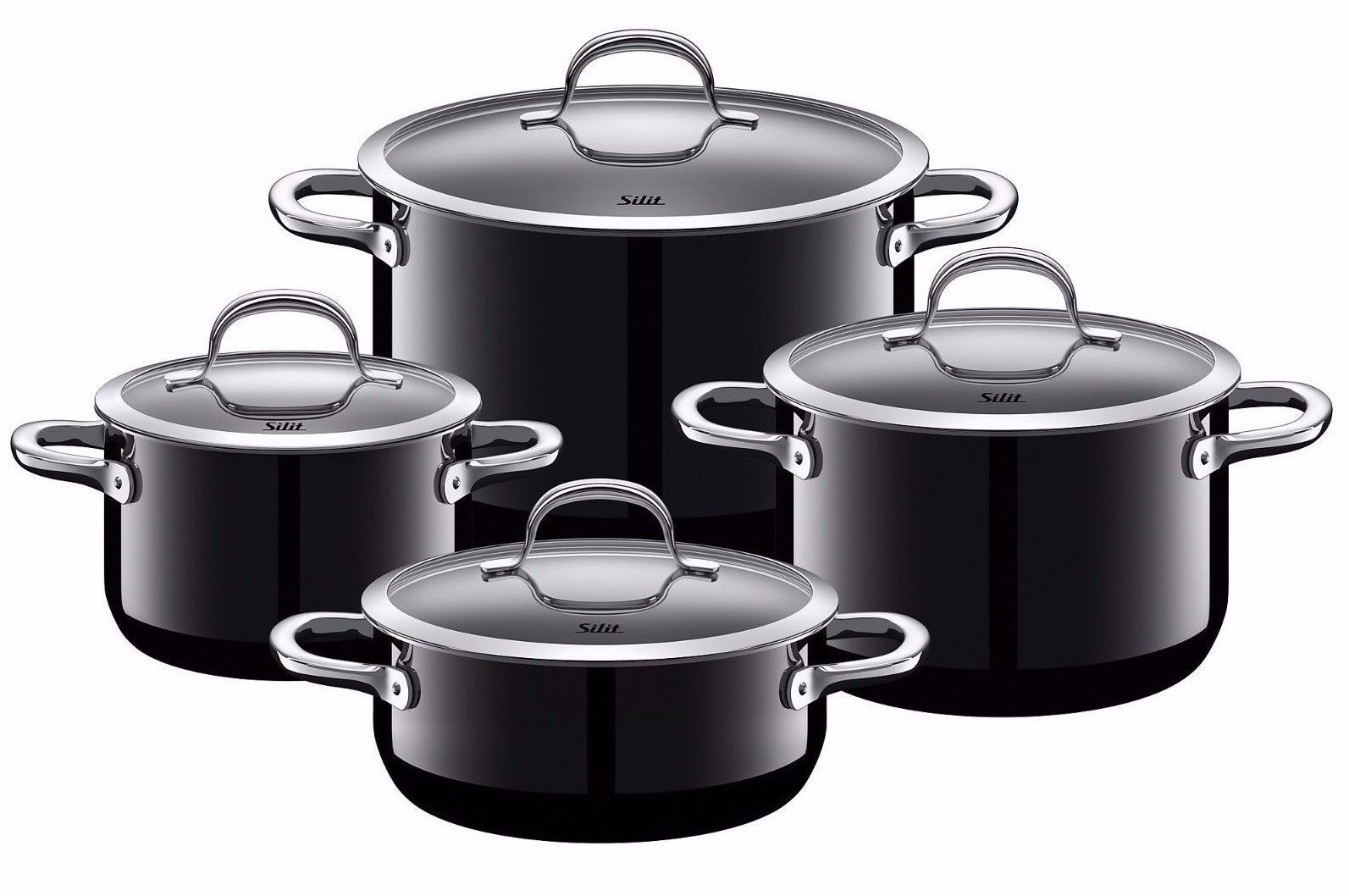 wmf silit passion 8 piece cookware set black made in germany cookers steamers. Black Bedroom Furniture Sets. Home Design Ideas