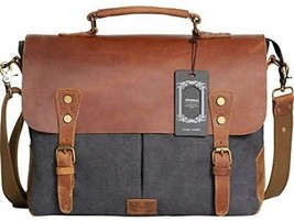 Wowbox Messenger Satchel Bag For Men And Women,Vintage Canvas Real Leather For - $100.58