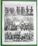 ARMY Middle Ages Armored Troops Tourneys  -1844 SUPERB Antique Print Eng... - $16.84