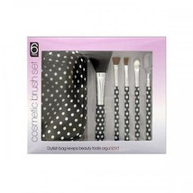 Polka Dot Cosmetic Brush Set With Stylish Bag - $3.99