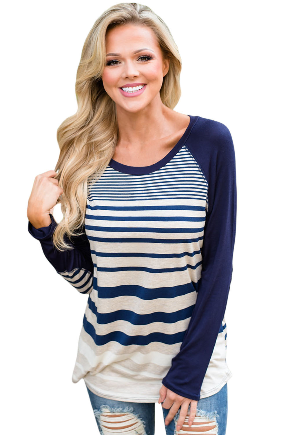 Navy Striped Patch Elbow Raglan Blouse