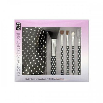 Polka Dot Cosmetic Brush Set With Stylish Bag