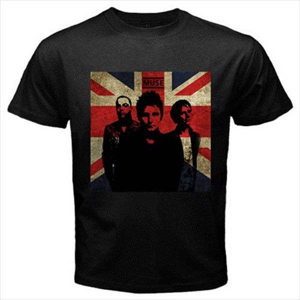 Muse english rock band personel custom black t shirt s m l for Xxl band t shirts