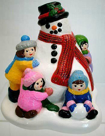 Primary image for 1981 Vintage Colorful Accents Unlimited Sculpture Snowman with Children Like New