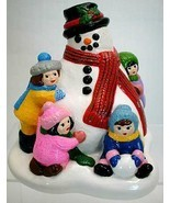 1981 Vintage Colorful Accents Unlimited Sculpture Snowman with Children ... - $21.99