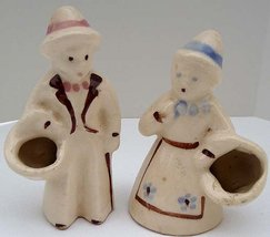 Mini MidC 50s California Pottery Man & Woman Figurine Vase Planters Hand... - $26.99
