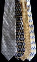 Lot of 4 VINTAGE Fashion House Neckties Yellow & Cream - $28.99