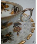 50s FRED ROBERTS Footed Golden Yellow Rose TEA CUP SET - $23.99
