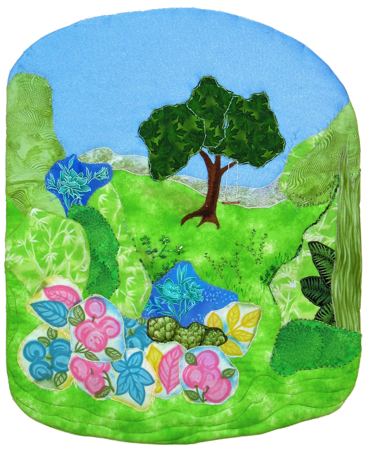 Springtime: Quilted Art Wall Hanging