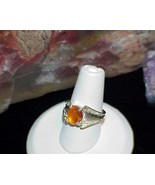 Sterling Silver Ring Orange Amber Cabochon Solitaire Filigree Size 6 Vin... - $29.69