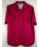 North Face Shirt Large Red Textured Short Sleeve Button Down L Mens  - $34.99