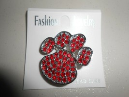 Fashion Jewelry Red Tiger Paw Pin Back Brooch Pin - $5.94