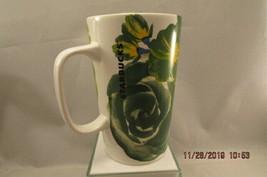 Starbucks 2014 Tall 16oz Green Floral Flower Mug Green Dot Collection  - $10.39
