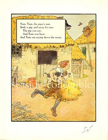 Primary image for 1930s MOTHER GOOSE NURSERY RHYME PRINT TOM, Piper's Son