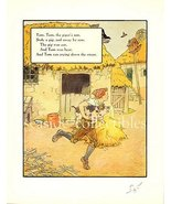 1930s MOTHER GOOSE NURSERY RHYME PRINT TOM, Piper's Son - $9.99