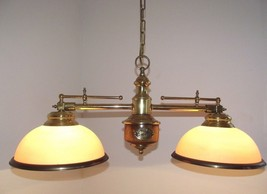 Vintage French Louisane Nautical  Double Billiard Light Brass Wood & Gl... - $238.66