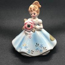 Josef Originals Figurine 1960s Girl Of Month Calendar Japan April Diamond Blue - $34.65
