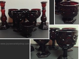 Avon Cape Cod Ruby Red Collection 8 Pieces Goblets Sugar Bowl Candle Holders - $29.99
