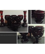 Avon Cape Cod Ruby Red Collection 8 Pieces Goblets Sugar Bowl Candle Hol... - $29.99
