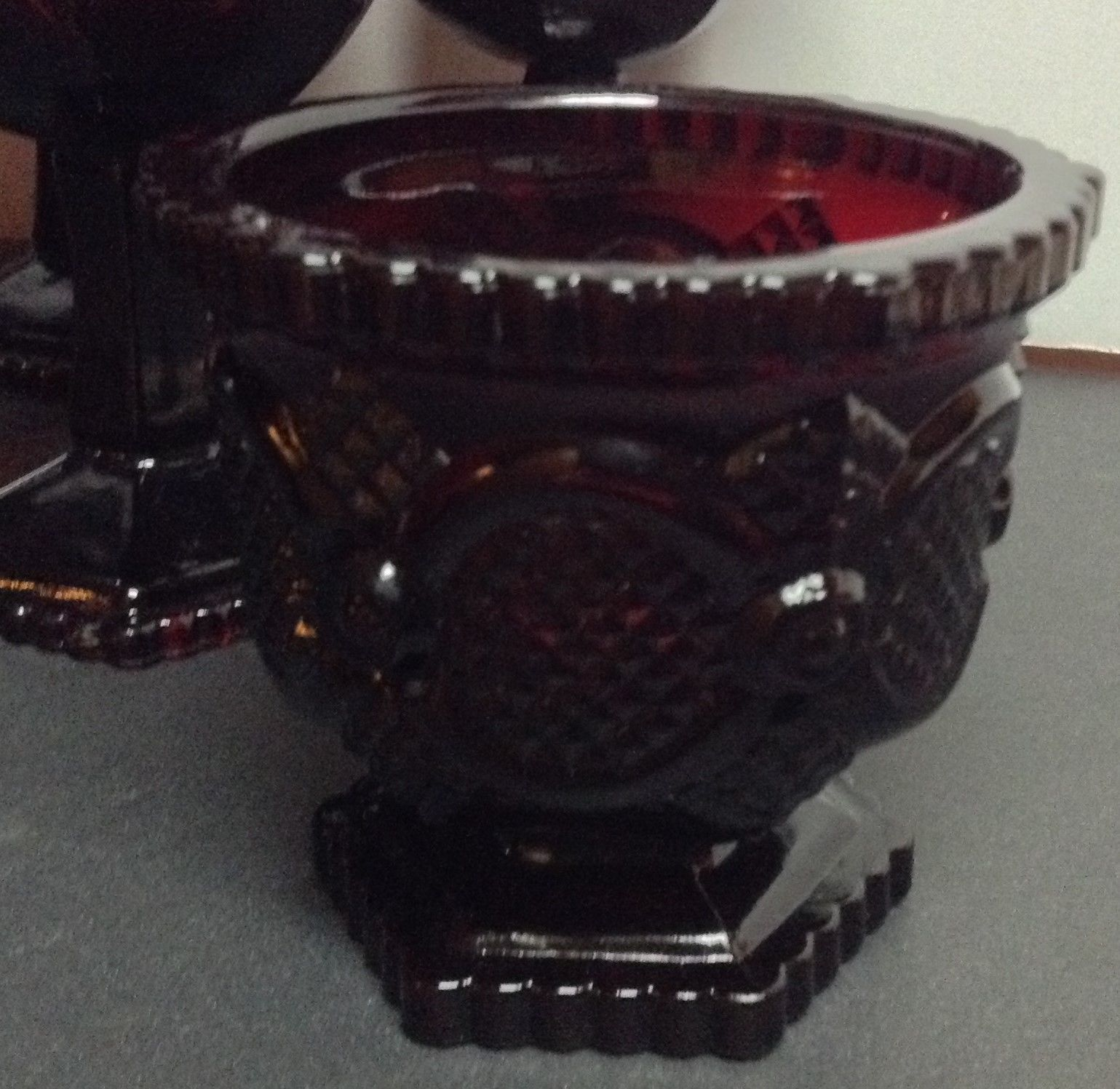 Avon Cape Cod Ruby Red Collection 8 Pieces Goblets Sugar Bowl Candle Holders