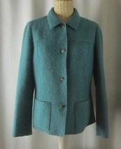 Talbots Petite 8 8P 100% Boiled Wool Teal Green Double Faced Jacket Long... - $39.55