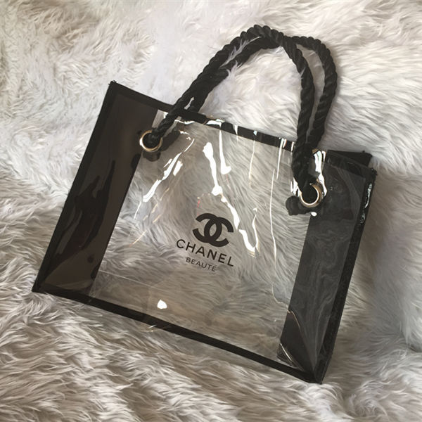 chanel beaute makeup cosmetic tote bag clear plastic