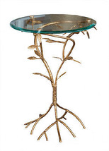 Contemporary Italian Gold Iron Leaf Branch Side/Accent Table ,18''D X 22''H. - $272.25
