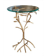 CONTEMPORARY ITALIAN GOLD IRON LEAF BRANCH SIDE/ACCENT TABLE ,18''D X 22... - $272.25