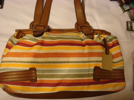 Etienne Aigner Multi Color Striped Top Handled Handbag - $20.00