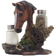 *Chestnut Stallion Glass Salt & Pepper Shaker Set with Decorative  Horse... - €22,08 EUR