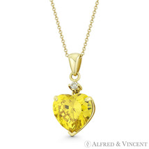 Heart-Shaped Faux Citrine Yellow & Round Clear CZ 14k Yellow Gold 20x9mm Pendant - $100.99