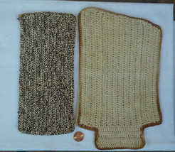 Vintage Dollhouse or Fairy Garden Miniatures Rugs, Brown and Tan Woven, ... - $3.50