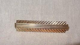 Vintage Tie Slide Stick Bar Gold Tone Geometric Design  - $25.25