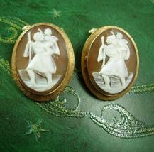 Vintage genuine cameo Cufflinks St Christopher Destino Gift for him mens... - $245.00