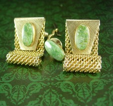 Jade Cufflinks Tie tack with chain  Mesh wraps high quality green cuff links men - $145.00
