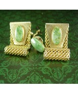 Jade Cufflinks Tie tack with chain  Mesh wraps high quality green cuff l... - $145.00