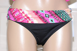 NWT Kenneth Cole Black Pink Fold Over Ruched Sides Bikini Swim Bottom S M L - $7.99